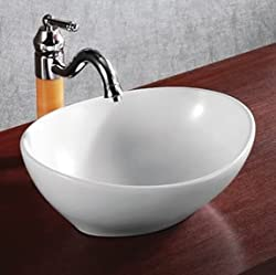 ELANTI EC9838 Porcelain White Vessel Oval Deep Bowl Sink