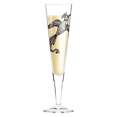 """RITZENHOFF 0,2 l'Olaf Hajek Paradiesvogel"""" Champus Flûte à Champagne en verre diamant blanc rond de serviette avec étiquette"""