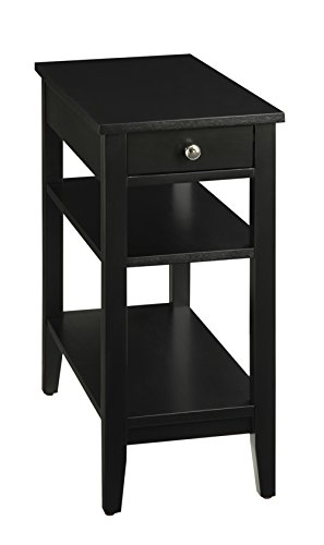 Convenience concepts american heritage 3 tier end table for Black side table with drawer