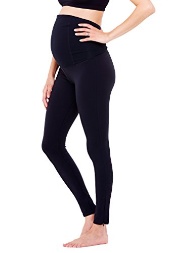 Ingrid & Isabel Maternity Active Fitness Pant With Crossover Panel - Long Legging - Black - Small front-615321