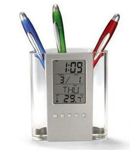 Home Style Desktop Calendar Temperature Alarm Clock Pen Holder