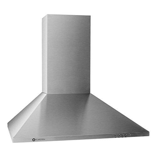 Klarstein TR60WS Filter 2 Cappa da cucina aspirante in acciaio per montaggio a parete (60 CM, Aspirazione massima 330m³/h, lampada per illuminazione inclusa)