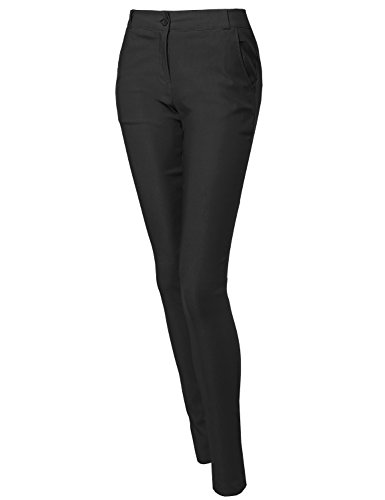 Basic Good Stretchy One Button Casual Pants Black L