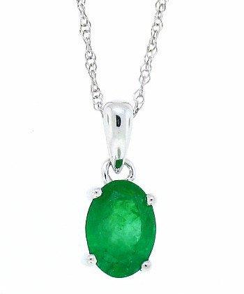 0.60Ct 7X5MM Genuine Emerald Pendant,14Kt White Gold w/chain(A)