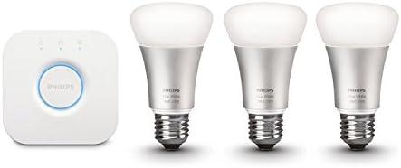 Philips Hue - Kit de démarrage Hue White and Color - 3 ampoules LED connectées + pont de connexion Hue - Culot E27 - Pilotable via smartphone, compatible avec le HomeKit d'Apple