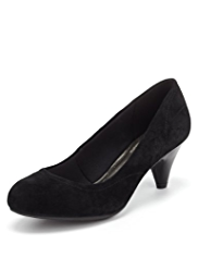 M&S Collection Suede Wide Fit Stitched Court Shoes