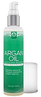 InstaNatural Argan Oil Hair Treatment - Leave-in Conditioner - For Colored, Dry & Damaged Hair - Infused with Organic Argan, Coconut & Carrot Seed Oil - 4 OZ