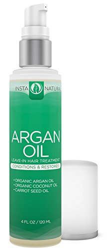 InstaNatural Hair Treatment - Leave-in Conditioner With Argan Oil - Best for Colored, Dry & Damaged Hair- Infused With Organic Argan Oil, Coconut Oil & Carrot Seed Oil - 4 OZ