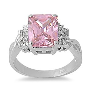10Mm .925 Sterling Silver Luxury Beautiful Elegant Rectangular Emerald Cut Pink Sapphire Cz With Clear Cz Ring Size 5-10 (5)
