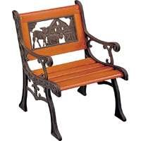 Cast Iron Kids Bench Chair with Farm Animal Design Back