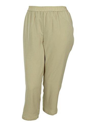 Calvin Klein Women's Elastic Waist Polyester Fabric Pants (3X, Latte)