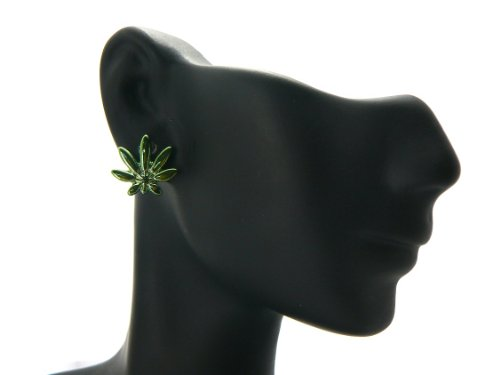 Green Homica Marijuana Leaf Stud Earrings Unisex