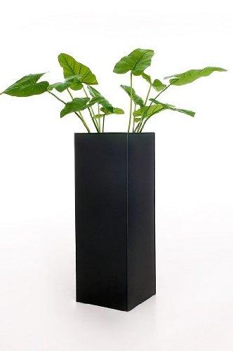 Einzel-Zink-Blumenkbel-Block-80-cm-Anthrazit-inkl-Bewsserungssystem