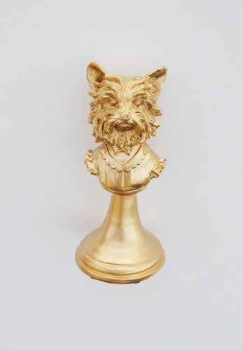 The Bridget | Gold Yorkshire Terrier Head Bust | Golden Yorkie Tabletop Dog Sculpture | Yorkshire Terrier Puppy Bust Statue | Figurine Faux Taxidermy | Animal Head Desk Sculpture | Animal Mounts