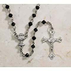 Boys Black 4mm Diamond Shape Jet Glass First Communion Rosary, Chalice Centerpiece, Crucific Charm, Material: Glass/silver Plate Size: 4mm; 17