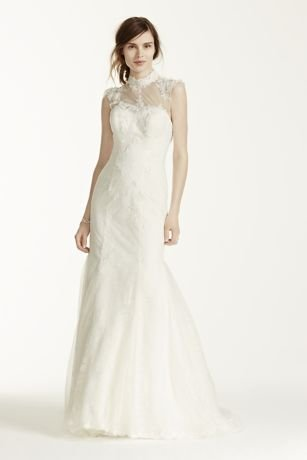 Chantilly Lace Wedding Dress with Tulle High Neck Detail