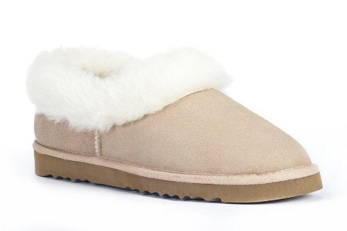 Cheap Sheep Touch Women's BALM Twin-Faced Australian Sheepskin Slippers Closed-Back Sand (B005PRA4M2)
