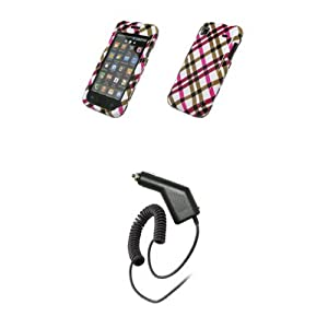 Samsung Vibrant T959 - Hot Pink Plaid Design Snap-On Cover Hard Case Cell Phone Protector + Rapid Car Charger for Samsung Vibrant T959