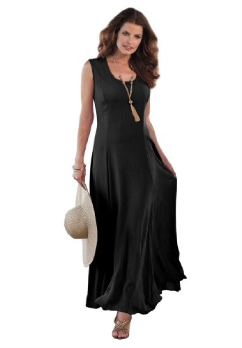 Roamans Women's Plus Size A Line Crinkle Maxi Dress (Black,2X)
