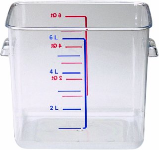 """Rubbermaid Commercial 6306 6 Qt Capacity, 8-3/4"""" Length X 8.8"""" Width X 6.9"""" Height, Clear Color, Polycarbonate Space Saving Square Container front-629567"""