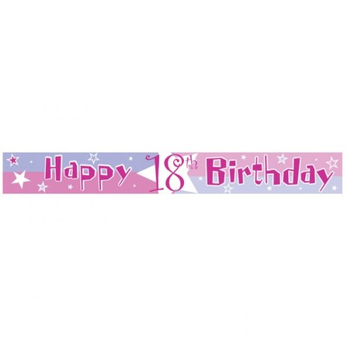 Pink Shimmer 18th Birthday Party Banner, 4 yards