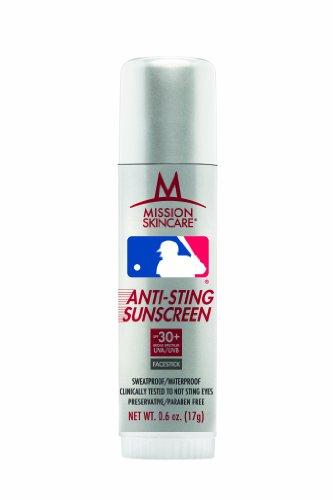 Mlb Major League Baseball No Sting Sunscreen Facestick Spf 30+, 0.6-Ounce Stick