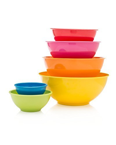 Francois et Mimi 6 Piece Colorful 100% Melamine Mixing Bowls, Mixing Bowl Set (Classsic) (Microwavable Mixing Bowl Set compare prices)