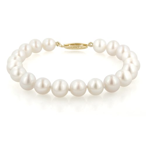 14k Yellow Gold  White Freshwater Cultured Pearl AA Grade 7.5-8mm Bracelet, 7.25
