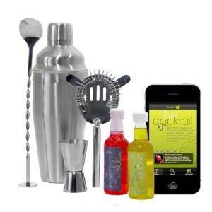 eKitch Kit per Cocktail in confezione regalo - Sono inclusi uno Shaker da 700ml, un Cucchiaino per Mescolare, uno Strainer, Doppio Misurino + 3 Sciroppi e una App per iPhone / Android gratis con tante fantastiche ricette per cocktail - Contenuto in lattina da regalo