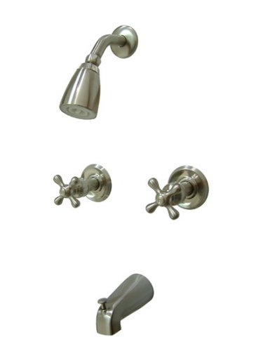 Kingston Brass KB248AX Twin Handle Tub and Shower Faucet with Decor Cross Handle, Satin Nickel