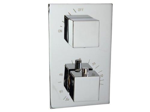 Concealed Chrome Thermostatic Shower Mixer Tap Valve - Square 2 Dial 1 Way