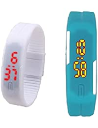 RTimes Sky Blue And White Unisex Multicolor Set Of 2 Digital Rubber Jelly Slim Silicone Sports Led Smart Band...