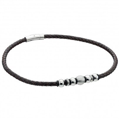 Fred Bennett SS Black Leather Beaded Necklet FB-N3221