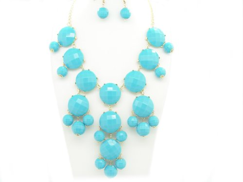 Bubble BIB Necklace Set Stone Cut - TURQUOISE COLOR