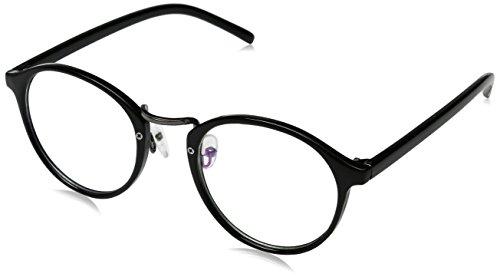 ZeroUV-Stile vintage piccolo cerchio lenti trasparenti Occhiali da sole rotondi Black Taglia unica