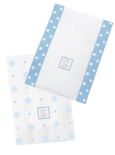 SwaddleDesigns Baby Burpies, Blue Big Dot Little Dot (Set of 2 Burp Cloths)