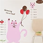 Cute Cartoon Cat With Balloons & Growth Chart Children's Baby Nursery Kids Bedroom Plane Wall Decal Stickers