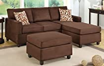 Big Sale 3 Pieces Sectional Sofa in Microfiber Plush / Chocolate by Poundex