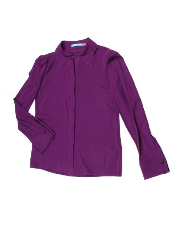 Alice + Olivia womens plum alveria button bown silk blouse S