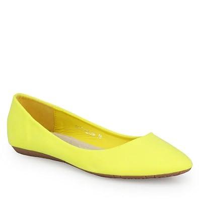 Klassische Ballerinas schlicht Damen Schuhe mit Leder Innensohle und super bequemer Polsterung gelb 43