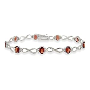 Sterling Silver Diamond Accent 6.3ct Garnet Infinity Bracelet