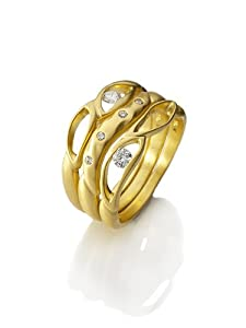 18K Gold Stacking Leaf Bands with Floating Diamonds - size 7