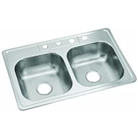 "Sterling 14633-4-NA Double Bowl Sink 6"" Deep Stainless Steel"