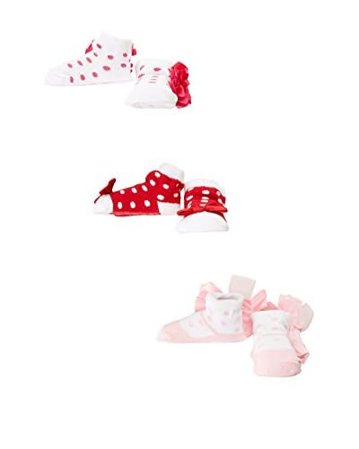 Pitter Patter Baby Gifts Pack x 3 Calcetines Rojo / Rosa / Blanco