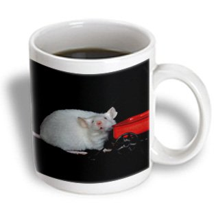Susans Zoo Crew Animals Mouse - White Mouse With Wagon Looking At Viewer - Mugs - 11Oz Mug - Mug_194436_1
