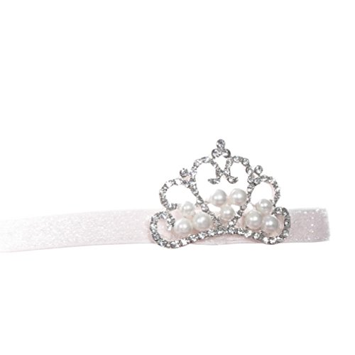 Gillberry Crown hair band Princess Baby Girl Crystal Pearl Crown Hairband (White)