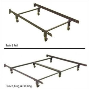 45R-Heavy Duty Metal Bed Frame w/4 Rug Rollers Supports Fully Adjustable Twin/Full
