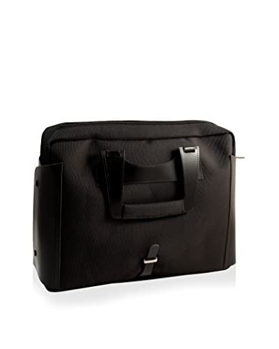Bey-Berk Leather & Nylon Computer Briefcase, Black