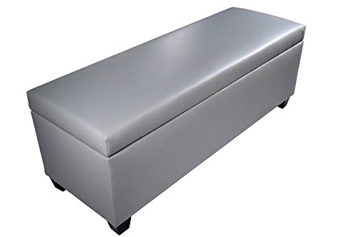 "MJL Furniture Designs The Sole Secret Shoe Storage Bench Retro Series with Upholstered Vinyl, 53"" x 20"" x 20.5"", Grey/Grey"