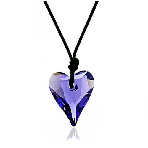 Tanzanite Heart Swarovski Crystal Elements Cord Pendant Necklace